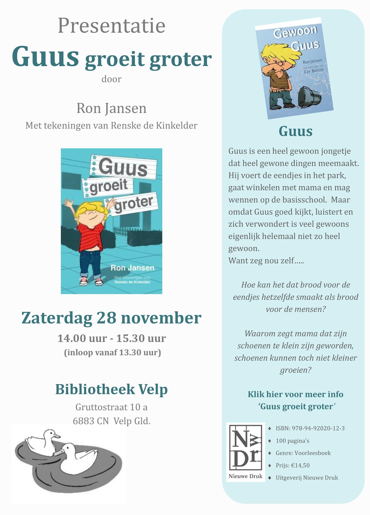uitnodiging boekpresentatie Guus Groeit Groter