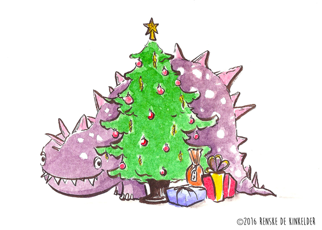 purple dinosaur beneath a christmastree