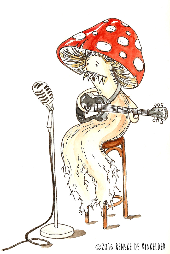 a mushroom singing the blues while playing guitar