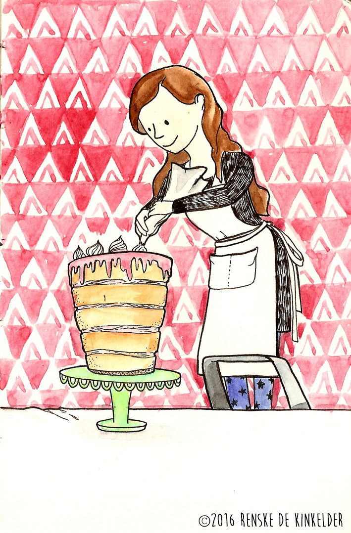 girl baking a huge birthday cake with many layers