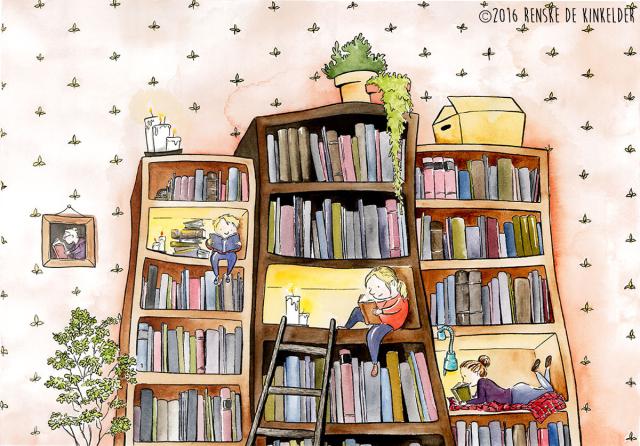 cozy bookshelves full of books and reading children