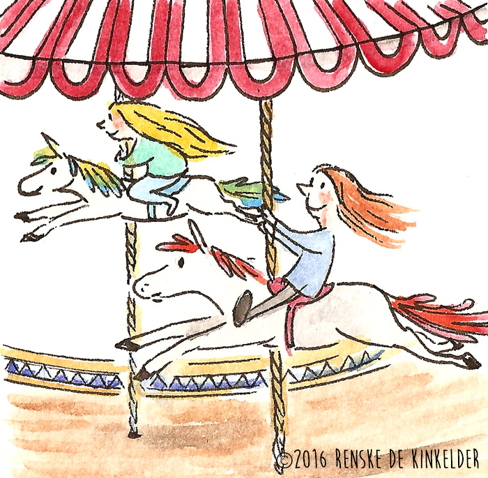 two girls riding horses at the carousel
