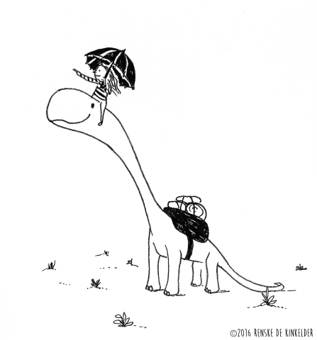 a brontosaurus and a girl taking a trip