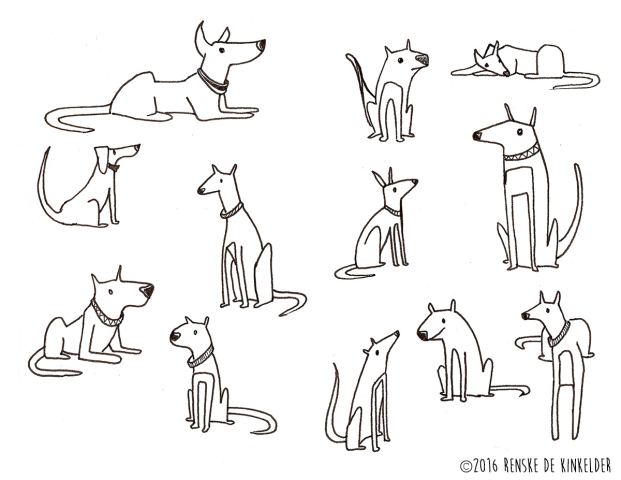 quirky dogs linedrawing in pen