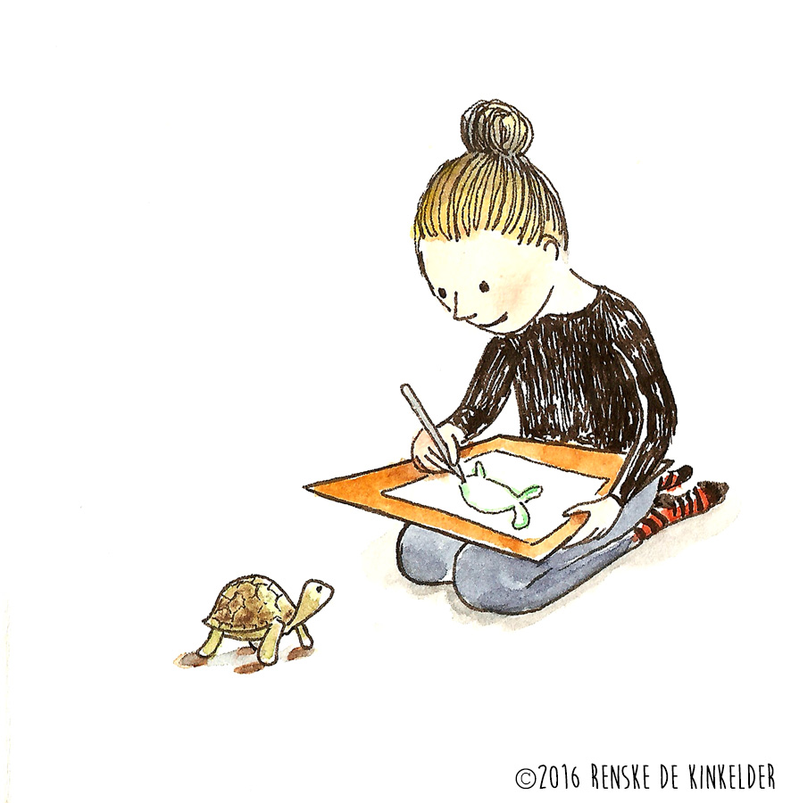 girl drawing a tortoise