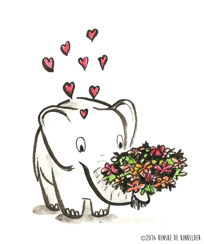 an elephant holding a bouquet of flowers