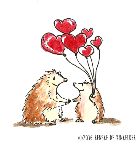 two hedgehogs holding heartshaped balloons