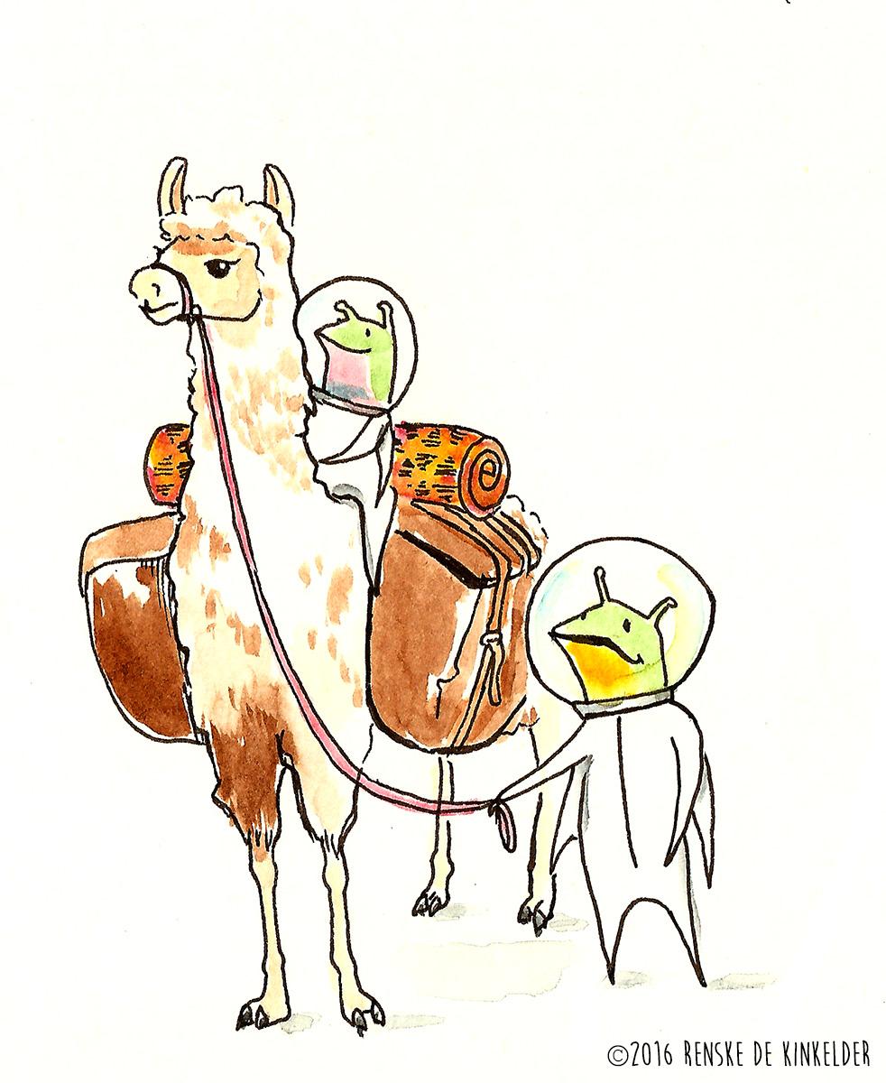 aliens riding a llama