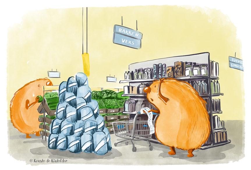 monster in supermarket shopping