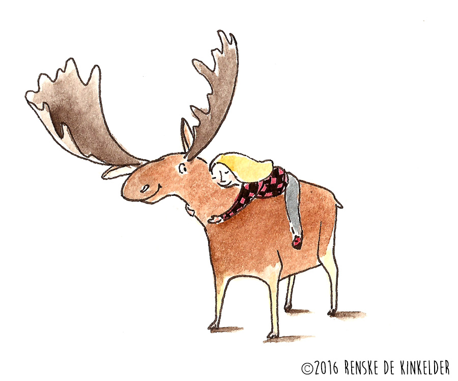 girl hugging a moose