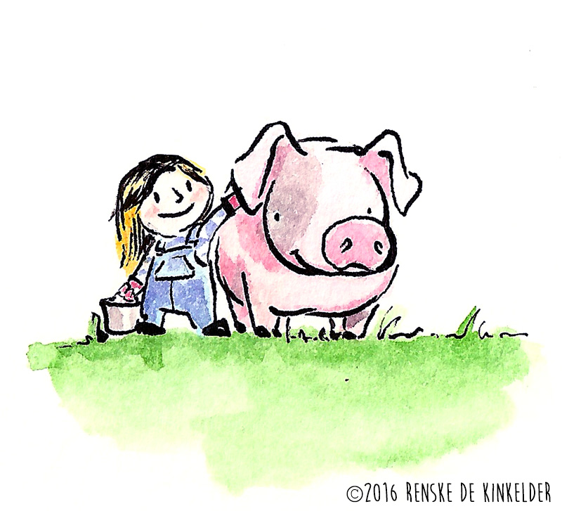 girl petting and feeding her pig