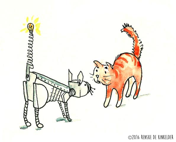 a cat meeting a robotcat