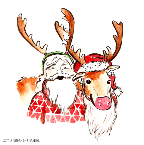 santa and rudolph ink and watercolor