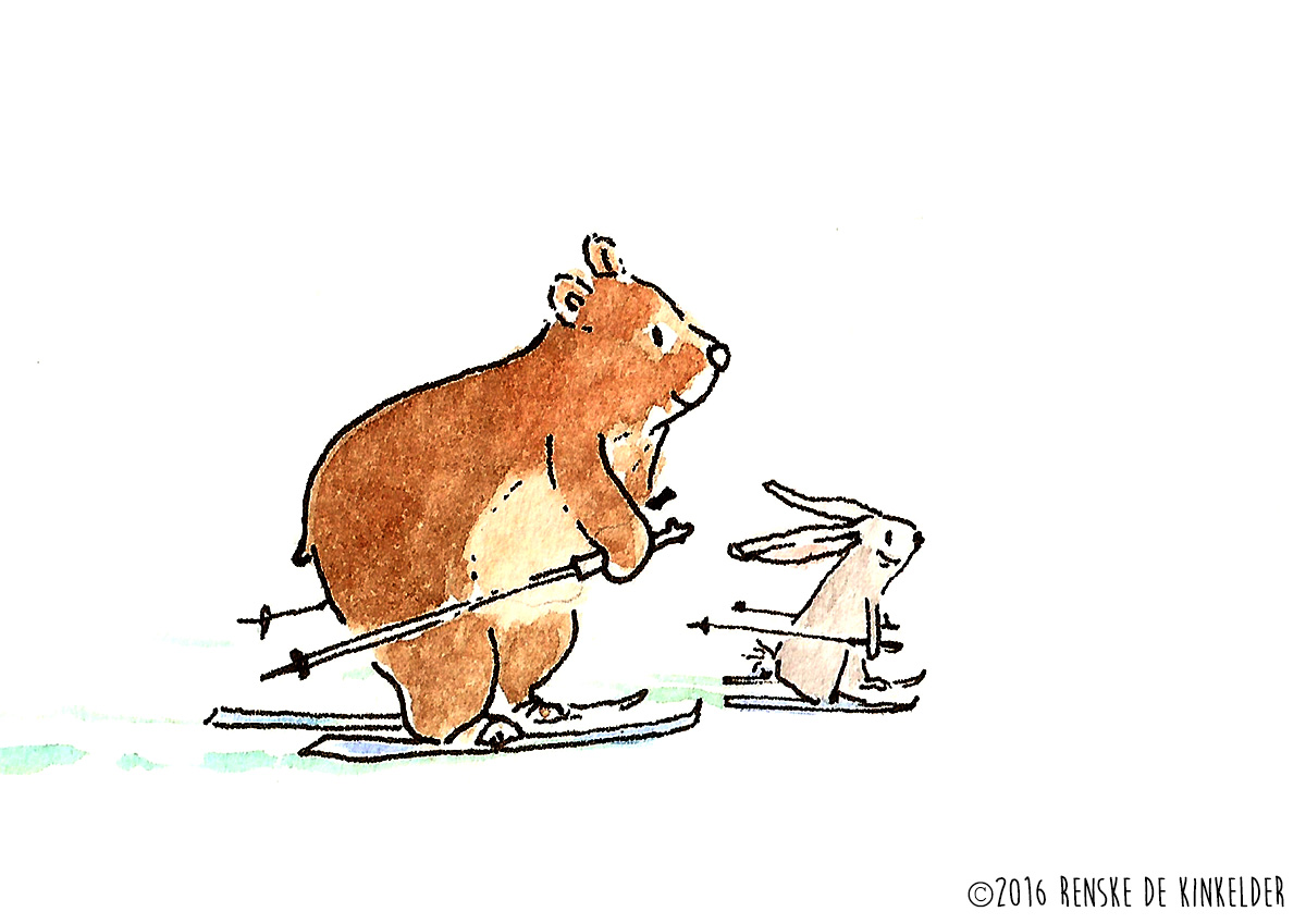 bear and rabbit skiing