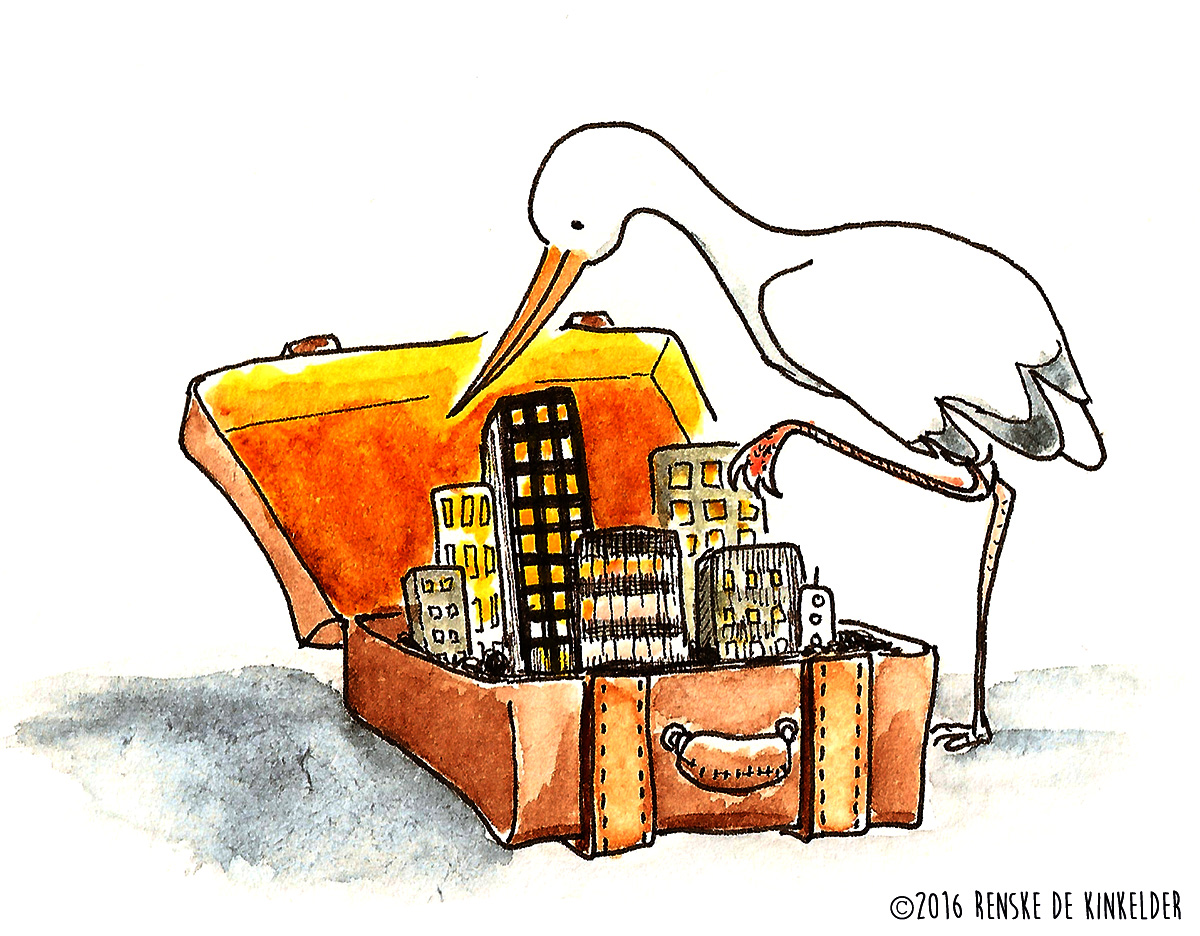 a stork and a suitcase with a city in it