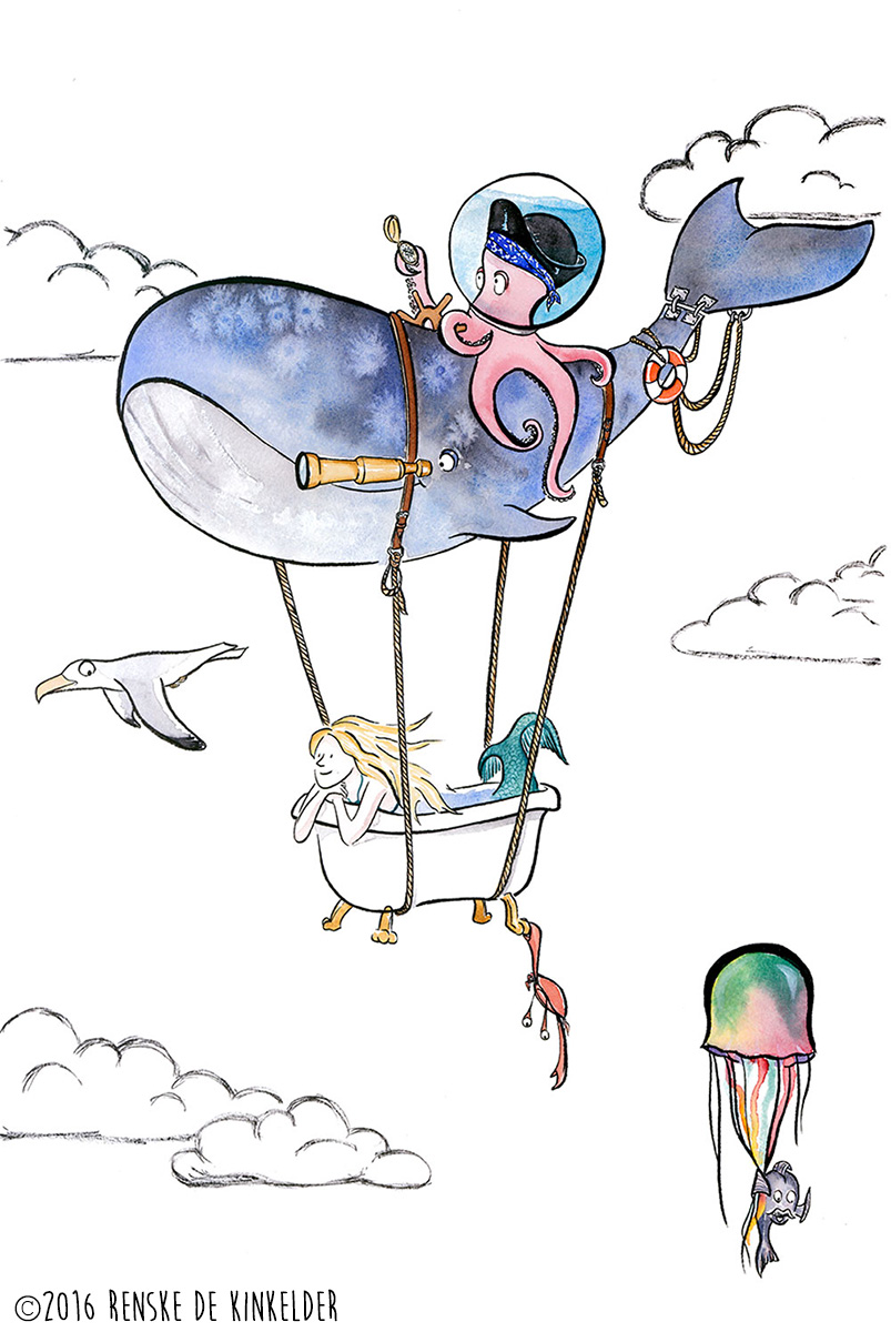 A whale, an octopus and a mermaid on adventure through the skies