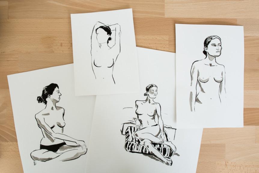 life drawing sketches made by Renske de Kinkelder